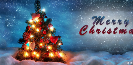 Christmas-Tree-Decorated-at-snow-Facebook-Cover
